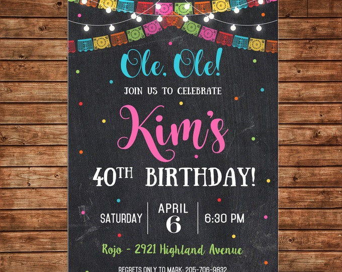 Boy or Girl Invitation Mexican Fiesta Shower Birthday Party - Can personalize colors /wording - Printable File or Printed Cards