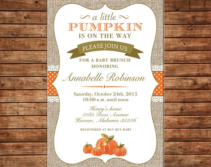 Boy or Girl Invitation Burlap Lace Pumpkin Baby Shower Birthday Party - Can personalize colors /wording - Printable File or Printed Cards