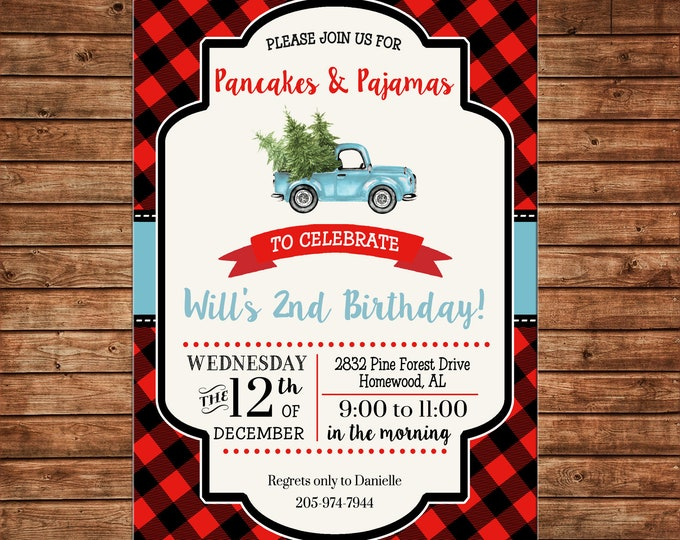 Boy Invitation Red Black Plaid Lumberjack Pancakes Truck Birthday Party - Can personalize colors /wording - Printable File or Printed Cards