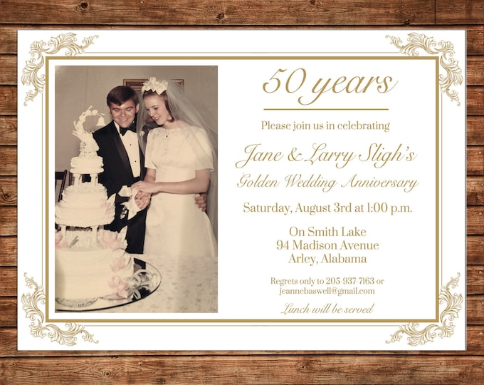Photo Invitation Milestone Wedding Anniversary Birthday Party - Can personalize colors /wording - Printable File or Printed Cards