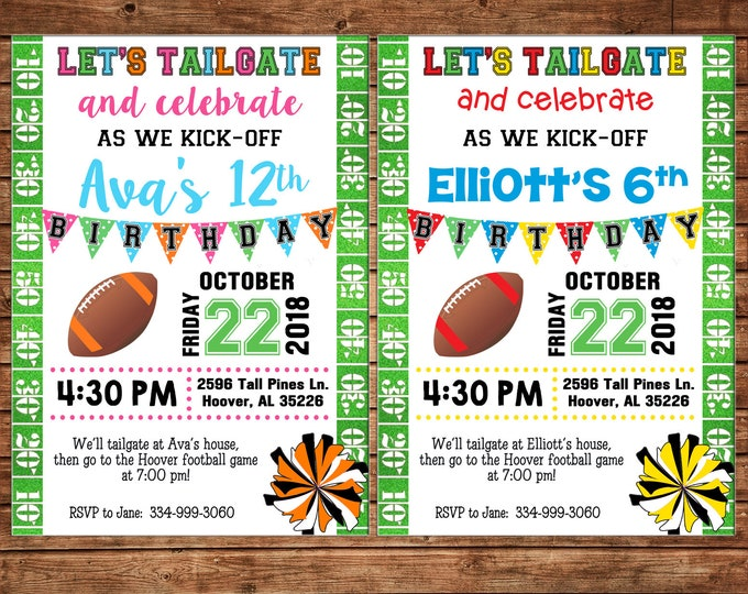 Boy or Girl Invitation Tailgate Football Game Birthday Party - Can personalize colors /wording - Printable File or Printed Cards
