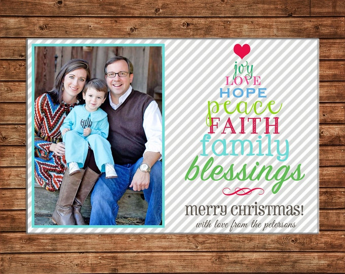 Photo Picture Christmas Holiday Card Elegant Typography Blessing Peace Joy Love Faith- Digital File