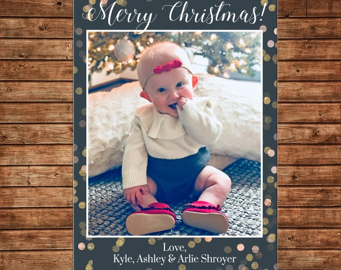 Christmas Holiday Photo Card Glitter Confetti - Can Personalize - Printable File or Printed Cards