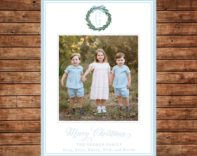 Christmas Holiday Photo Card Watercolor Wreath Baby Blue - Can Personalize - Printable File