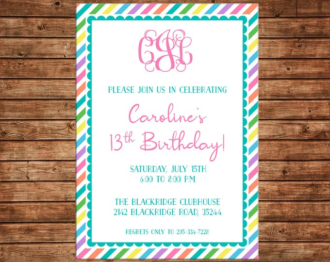 Girl Invitation Monogram Birthday Party - Can personalize colors /wording - Printable File or Printed Cards