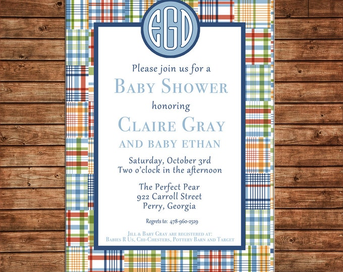 Boy Invitation Madras Plaid Monogram Baby Shower Birthday Party - Can personalize colors /wording - Printable File or Printed Cards
