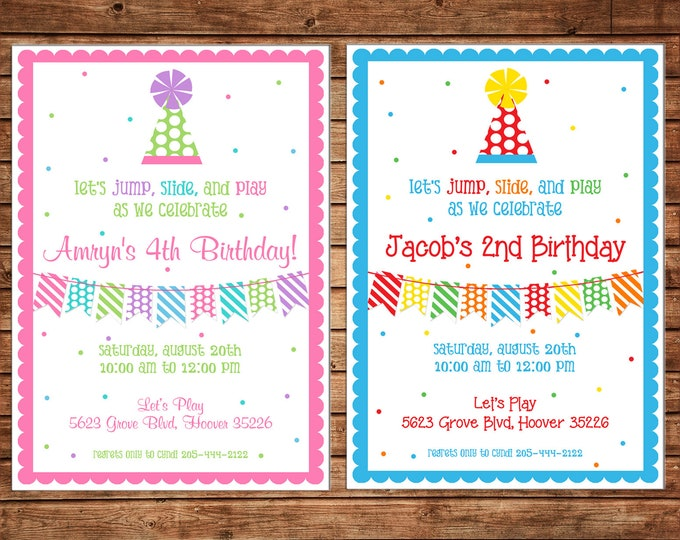 Boy or Girl Generic Birthday Party Invitation - Can personalize colors /wording - Printable File or Printed Cards
