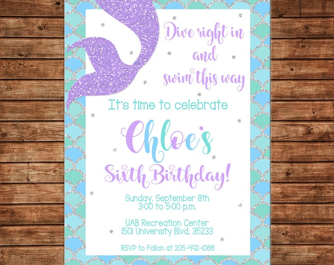 Girl Mermaid Under the Sea Gold Glitter Purple Teal Birthday Party - Can personalize colors /wording - Printable File or Printed Cards