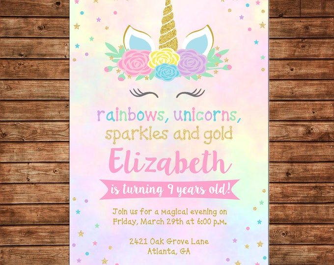 Girl Invitation Unicorn Gold Glitter Sparkles Rainbow Birthday Party - Can personalize colors /wording - Printable File or Printed Cards