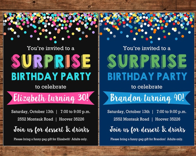 Boy or Girl Invitation Surprise Confetti Birthday Party - Can personalize colors /wording - Printable File or Printed Cards