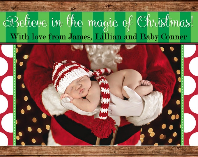 Christmas Holiday Photo Card Stripe Polka Dot Believe - Can Personalize - Printable File or Printed Cards