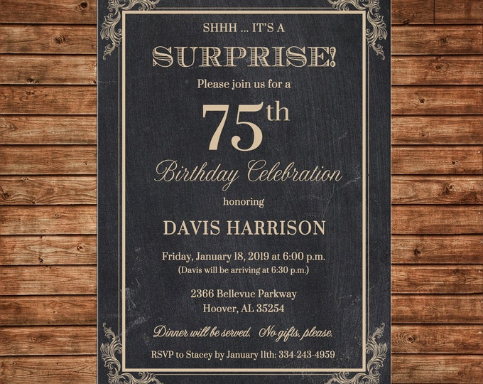 Invitation Chalkboard Chalk Masculine Surprise Birthday Party - Can personalize colors /wording - Printable File or Printed Cards