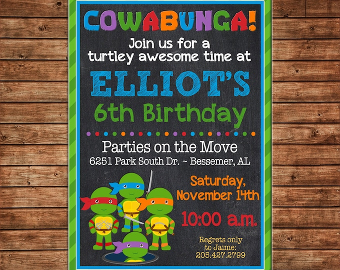 Boy Invitation Turtle Birthday Party - Can personalize colors /wording - Printable File or Printed Cards