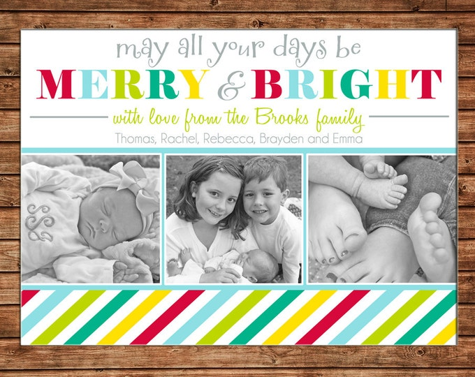 Christmas Holiday Photo Card Merry and Bright Stripe - Can Personalize - Printable File or Printed Cards