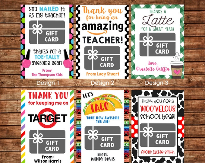 Gift Card Holders for Teachers etc with envelopes - Printable File or Printed Cards