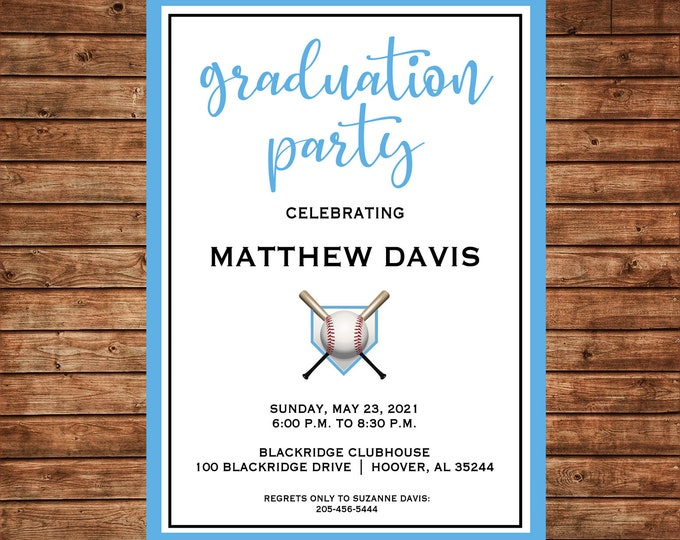 Boy Invitation Graduation Party Announcement  - Can personalize colors /wording - Printable File or Printed Cards