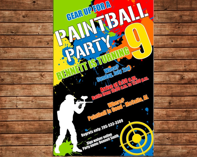 Boy Invitation Paint Ball Paintball Birthday Party - Can personalize colors /wording - Printable File or Printed Cards