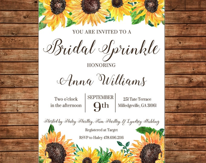 Invitation Watercolor Sunflowers Fall Bridal Wedding Baby Shower Party - Can personalize colors /wording - Printable File or Printed Cards
