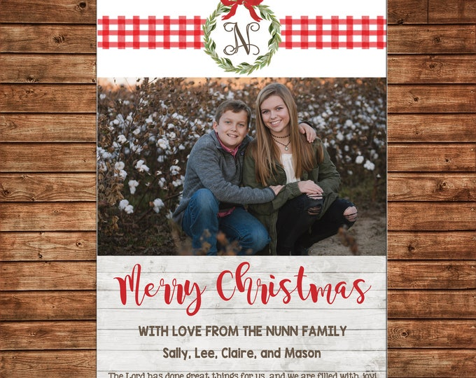 Christmas Holiday Photo Card Watercolor Wreath Gingham Rustic Farmhouse  - Can Personalize - Printable File or Printed Cards