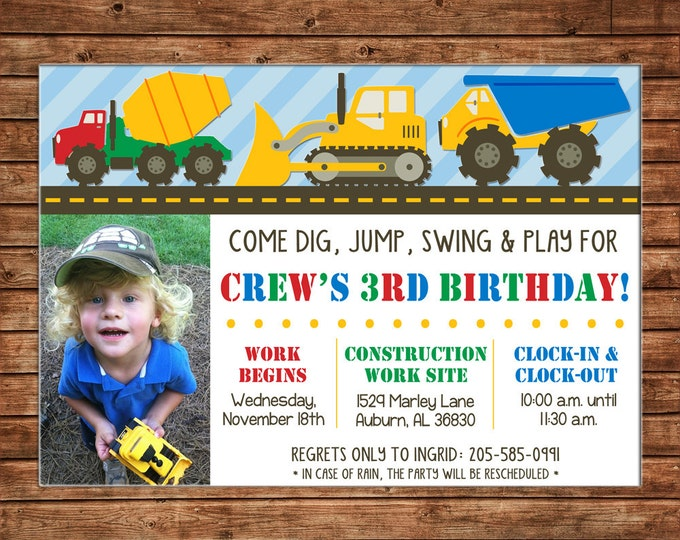 Boy Photo Invitation Construction Dump Truck Digger Birthday Party - Can personalize colors /wording - Printable File or Printed Cards