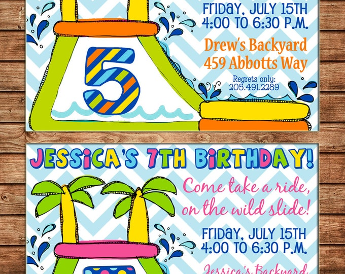 Boy or Girl Invitation Waterslide Inflatable Birthday Party - Can personalize colors /wording - Printable File or Printed Cards