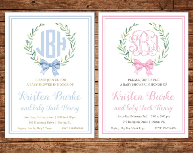 Boy or Girl Invitation Monogram Watercolor Laurel Wreath Shower Party - Can personalize colors /wording - Printable File or Printed Cards