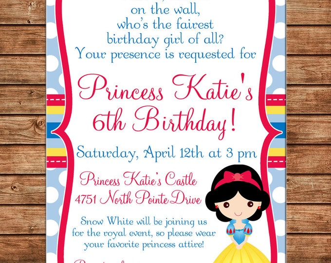 Girl Invitation Snow Princess Birthday Party - Can personalize colors /wording - Printable File or Printed Cards