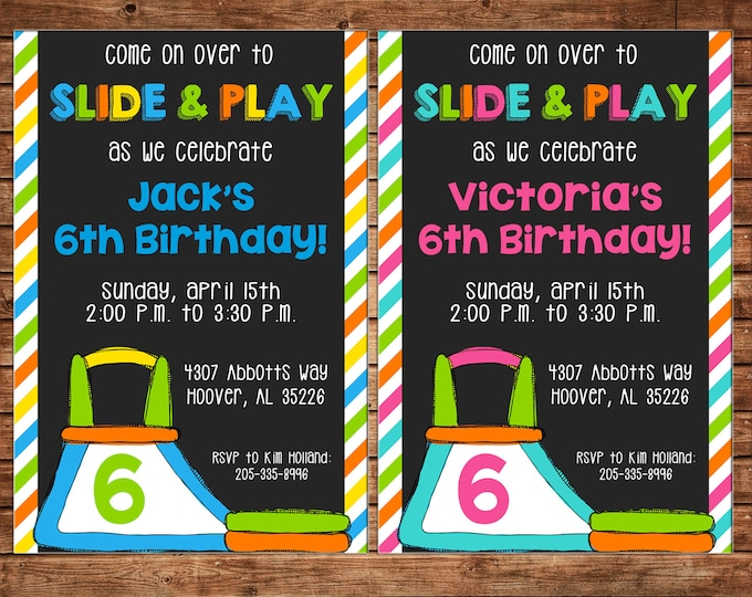 Boy or Girl Invitation Inflatable Slide Bounce House Birthday Party - Can personalize colors /wording - Printable File or Printed Cards