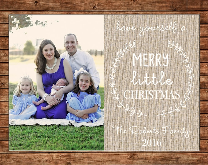 Christmas Holiday Photo Card Burlap Elegant - Can Personalize - Printable File