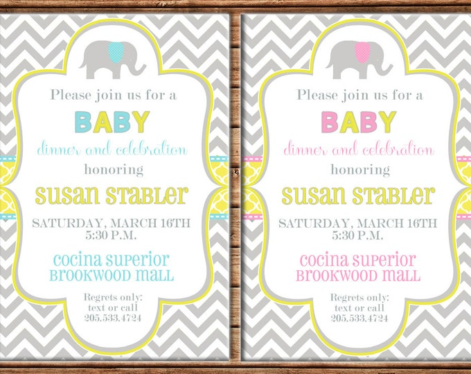 Boy or Girl Invitation Grey Chevron Elephant Baby Shower Birthday Party - Can personalize colors /wording - Printable File or Printed Cards