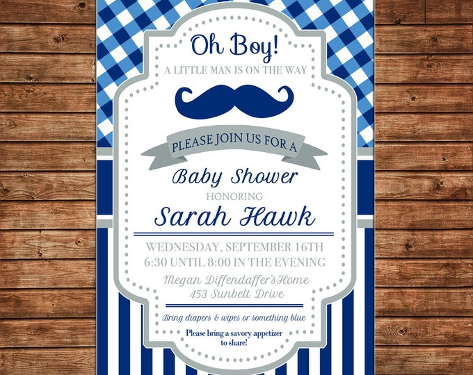Boy Invitation Mustache Gingham Baby Shower Birthday Party - Can personalize colors /wording - Printable File or Printed Cards
