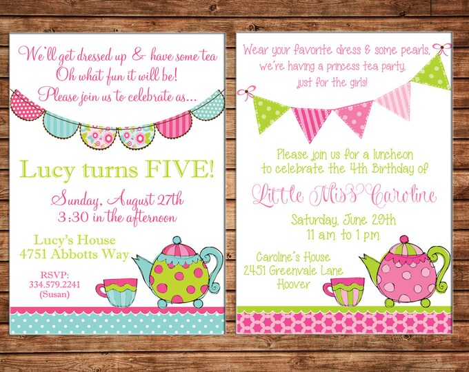 Girl Invitation High Tea Bunting Birthday Party - Can personalize colors /wording - Printable File or Printed Cards