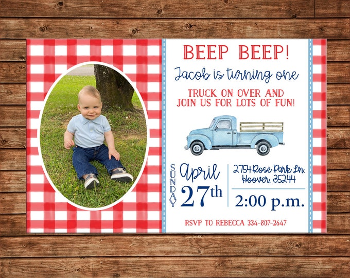 Boy Photo Invitation Pick up Vintage Truck Birthday Party - Can personalize colors /wording - Printable File or Printed Cards
