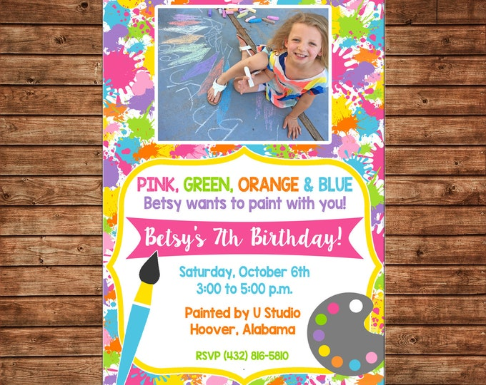 Boy or Girl Photo Painting Paint Art Artist Pottery Birthday Party - Can personalize colors /wording - Printable File or Printed Cards