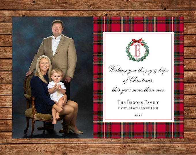 Christmas Holiday Photo Card Watercolor Wreath Tartan Plaid - Can Personalize - Printable File