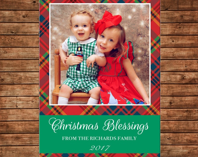 Christmas Holiday Photo Card Tartan Plaid Blessings  - Can Personalize - Printable File or Printed Cards