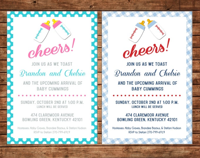 Boy or Girl Invitation Baby Bottle Cheers Shower Party - Can personalize colors /wording - Printable File or Printed Cards