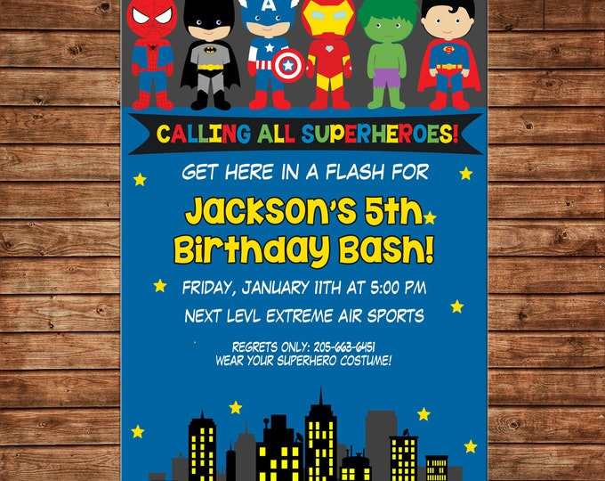Boy Invitation Super hero Superhero Shield Birthday Party - Can personalize colors /wording - Printable File or Printed Cards