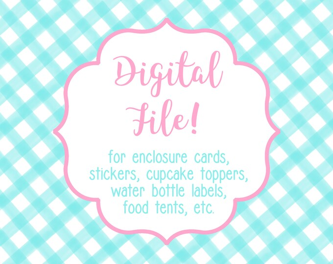 DIGITAL FILE for Calling Cards, Gift Stickers, Cupcake Toppers, Address Labels, Food Tents, etc - Use this link to purchase a printable file