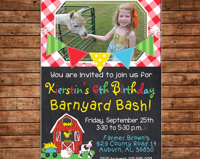 Boy or Girl Photo Invitation Petting Zoo Farm Barn Birthday Party - Can personalize colors /wording - Printable File or Printed Cards