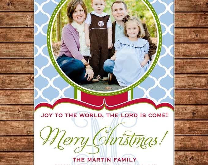 Christmas Holiday Photo Card Blue Quatrefoil Print - Can Personalize - Printable File or Printed Cards