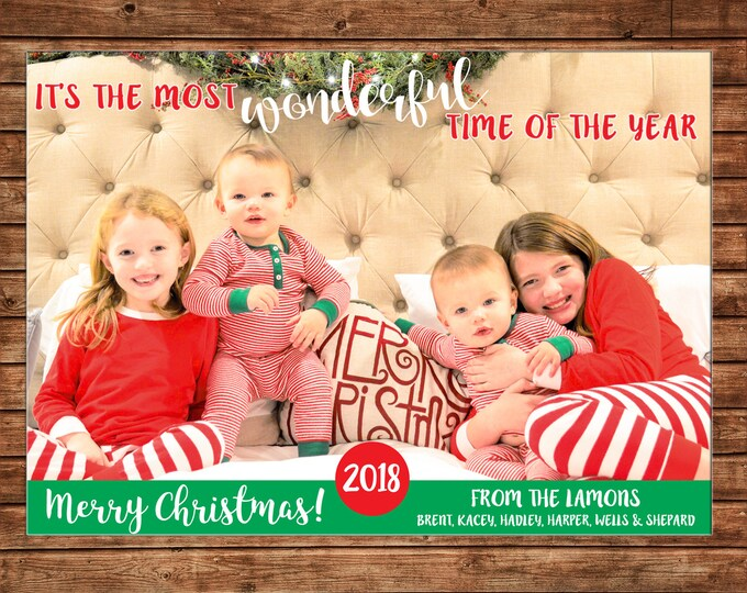 Christmas Holiday Photo Card Wonderful Time of the Year - Can Personalize - Printable File or Printed Cards