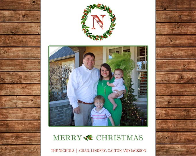 Christmas Holiday Photo Card Watercolor Wreath Monogram - Can Personalize - Printable File