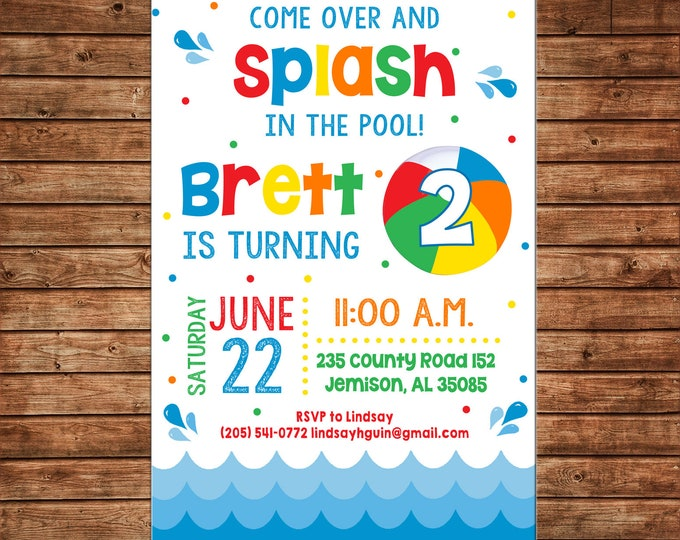 Boy or Girl Invitation Summer Pool Splash Swim Birthday Party - Can personalize colors /wording - Printable File or Printed Cards