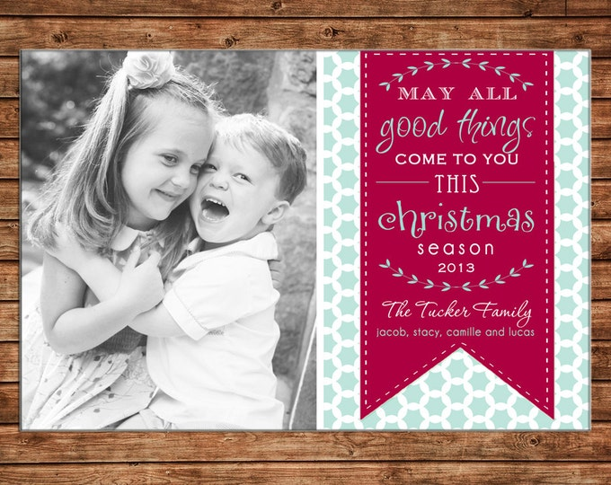 Christmas Holiday Photo Card Typography Mint Quatrefoil - Can Personalize - Printable File or Printed Cards