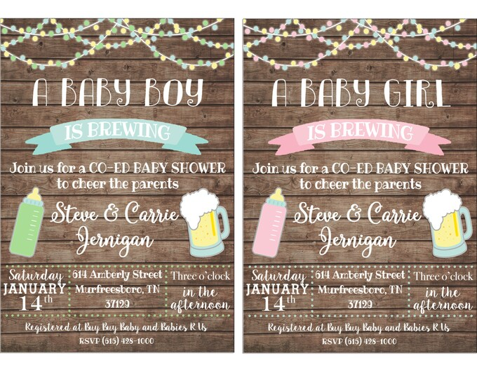 Boy or Girl Invitation Baby Brewing Beer Shower Party - Can personalize colors /wording - Printable File or Printed Cards