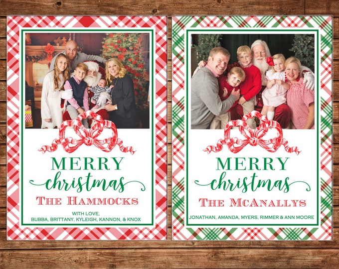 Christmas Holiday Photo Card Tartan Plaid Red Ribbon - Can Personalize - Printable File or Printed Cards
