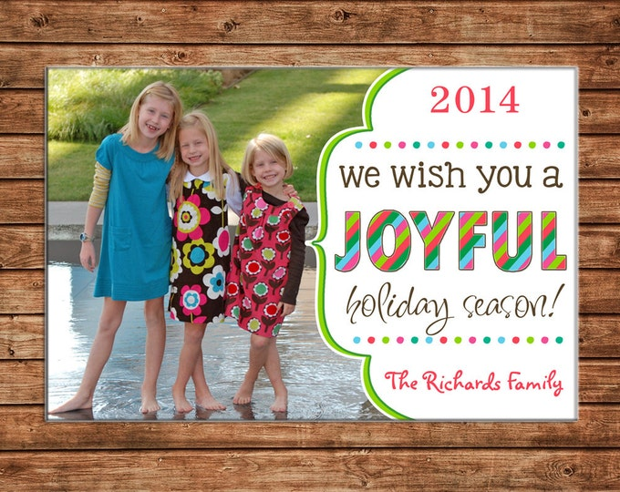 Christmas Holiday Photo Card Joyful Bright Colors - Can Personalize - Printable File or Printed Cards
