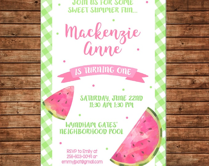 Girl Invitation Summer Watercolor Watermelon Birthday Party - Can personalize colors /wording - Printable File or Printed Cards