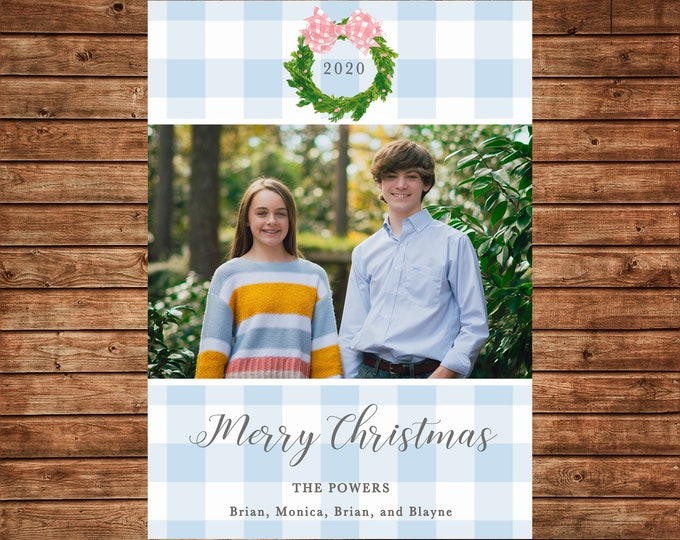 Christmas Holiday Photo Card Watercolor Wreath Gingham  - Can Personalize - Printable File